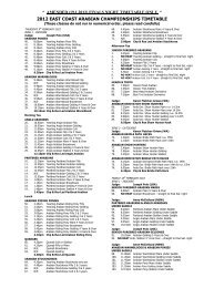 2012 EAST COAST ARABIAN CHAMPIONSHIPS TIMETABLE