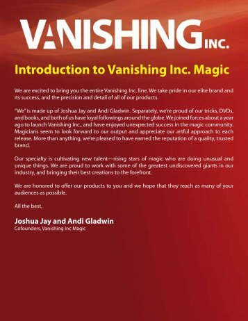 Introduction to Vanishing Inc Magic