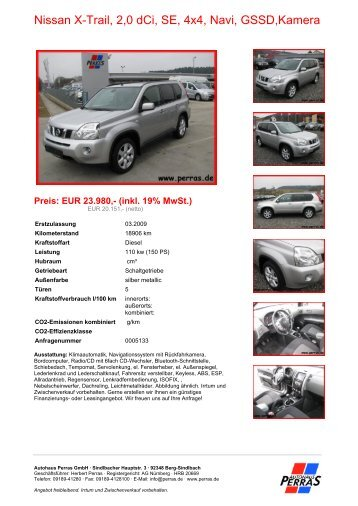 Preis: EUR 23.980,- (inkl. 19% MwSt.) - Autohaus Perras