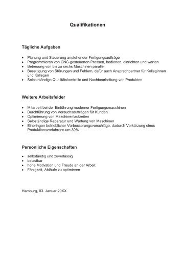 muster fr qualifikationsprofile bei bewerbunxcoach - Qualifikationsprofil Muster
