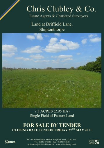 FOR SALE BY TENDER