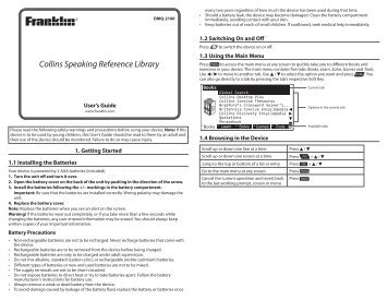 Collins Speaking Reference Library - Franklin Electronic Publishers