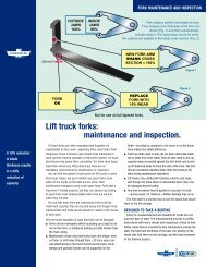 Lift truck forks maintenance and inspection