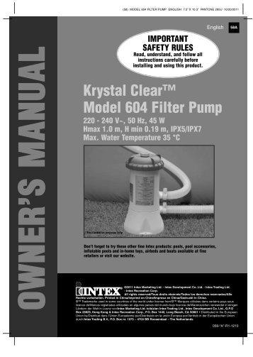 Krystal Clear™ Model 604 Filter Pump - Intex Development ...