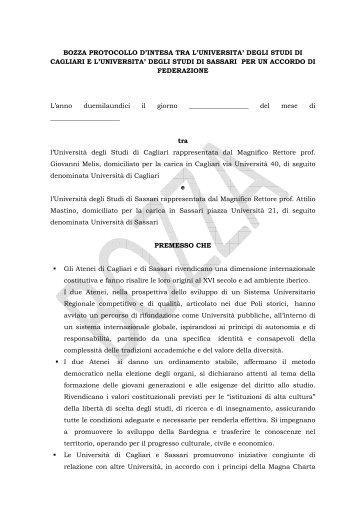 BOZZA PROTOCOLLO D'INTESA TRA L'UNIVERSITA' DEGLI ...