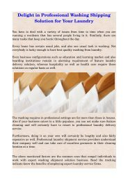Delight in Professional Washing Shipping Solution for Your Laundry