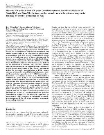 Histone H3 lysine 9 and H4 lysine 20 ... - Carcinogenesis