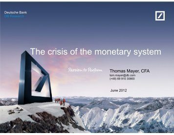 The crisis of the monetary system
