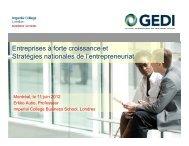 Entreprises à forte croissance et Stratégies nationales de l'entrepreneuriat