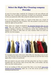 Select the Right Dry Cleaning company Provider