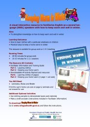 warm in winter info and activity booklet - Refugee Health