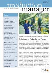 production manager 3/2012 - PSI Logistics GmbH