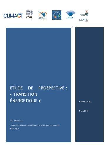 ETUDE DE PROSPECTIVE  « TRANSITION ÉNERGÉTIQUE »