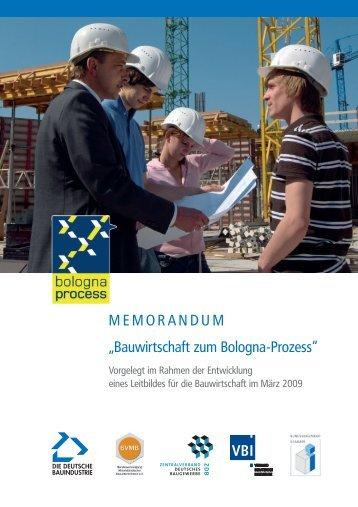 """MEMORANDUM """"Bauwirtschaft zum Bologna-Prozess"""""""