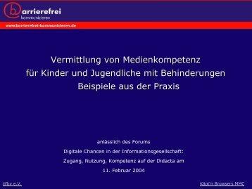 Vermittlung von Medienkompetenz - Stiftung Digitale Chancen