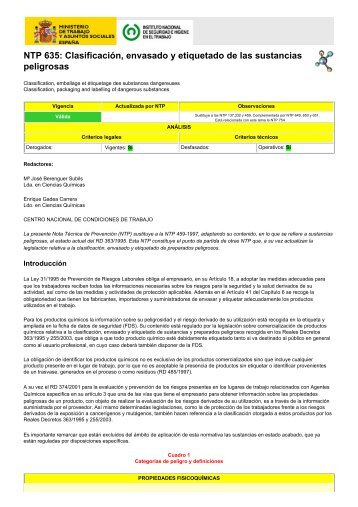 NTP 635 Clasificación envasado y etiquetado de las sustancias peligrosas
