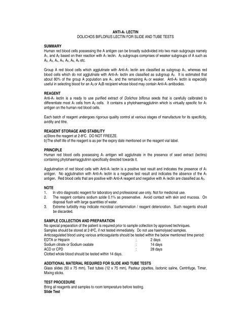 ANTI-A1 LECTIN DOLICHOS BIFLORUS LECTIN     - Core Diagnostics