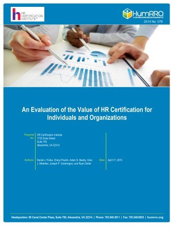 An Evaluation of the Value of HR Certification for Individuals and Organizations