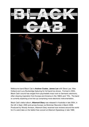 Melbourne band Black Cab is Andrew Coates ... - Premier Artists