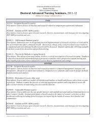 Doctoral Advanced Nursing Seminars 2011-12