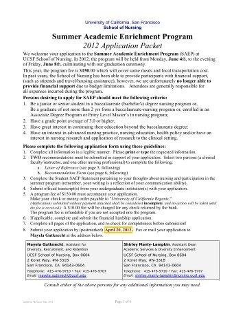 Summer Academic Enrichment Program 2012 Application Packet
