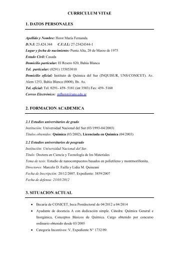 1 Curriculum Vitae 1 Datos Personales Universidad