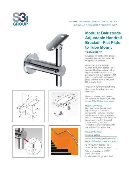 Modular Balustrade Adjustable Handrail Bracket - Flat Plate