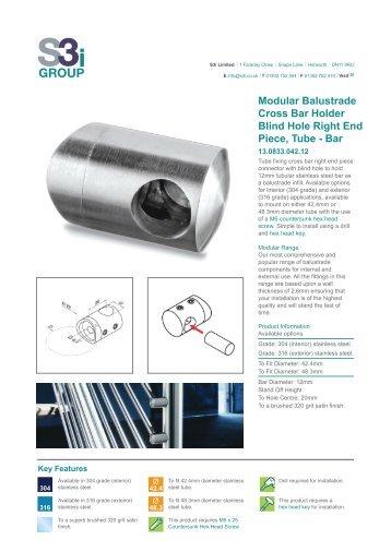 Modular balustrade in line tube connector flush fitting