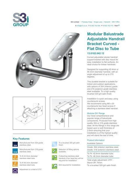 Modular Balustrade Adjustable Handrail Bracket Curved - Flat