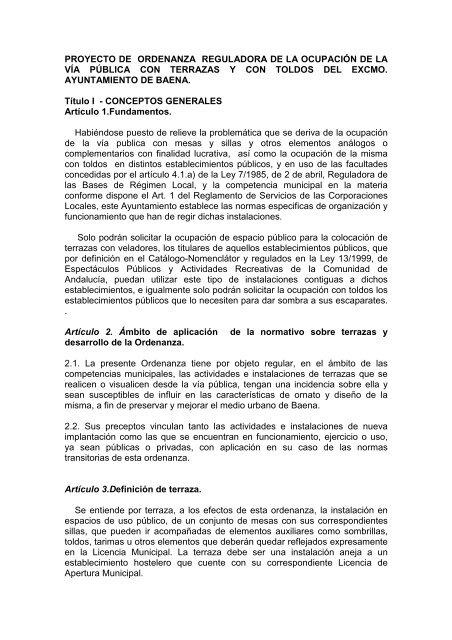 06 Ordenanza Municipal Veladores Ayuntamiento De Baena