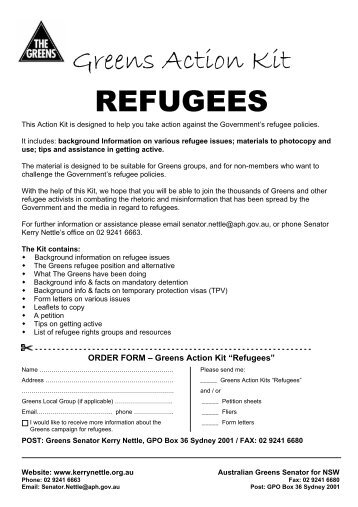 Greens Action Kit REFUGEES