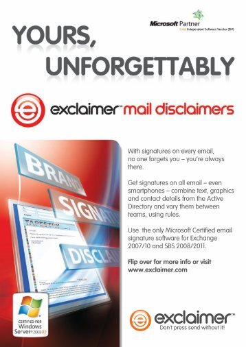 With signatures on every email, no one forgets you – you ... - Exclaimer