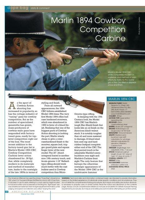 Marlin 1894 Cowboy Competition Carbine