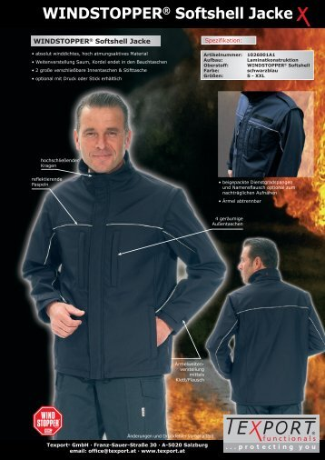WINDSTOPPER® Softshell Jacke - Pirotext