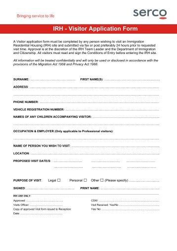irh-visitor-application-form-department-of-immigration- Visitor Application Form on pdf big exhibit n, correctional rehabilitation, register printable, visa canada application, printable version mexico,
