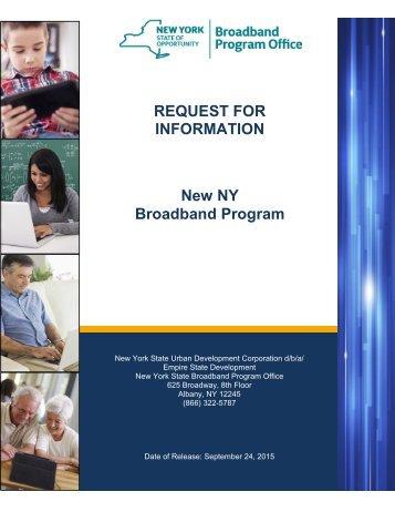 REQUEST FOR INFORMATION New NY Broadband Program