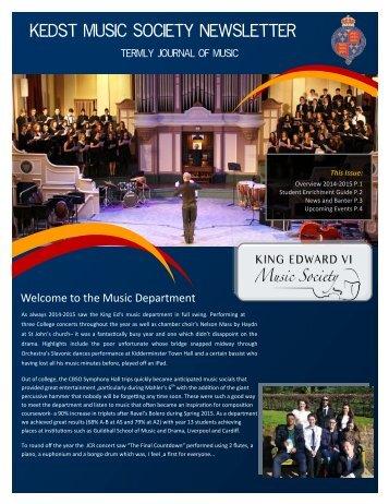 Kedst Music Society Newsletter