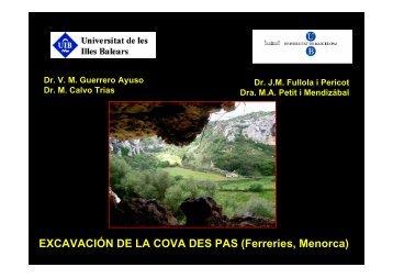 EXCAVACIÓN DE LA COVA DES PAS (Ferreries Menorca)