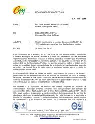 MEMORANDO DE ADVERTENCIA - Contraloría Municipal de Neiva