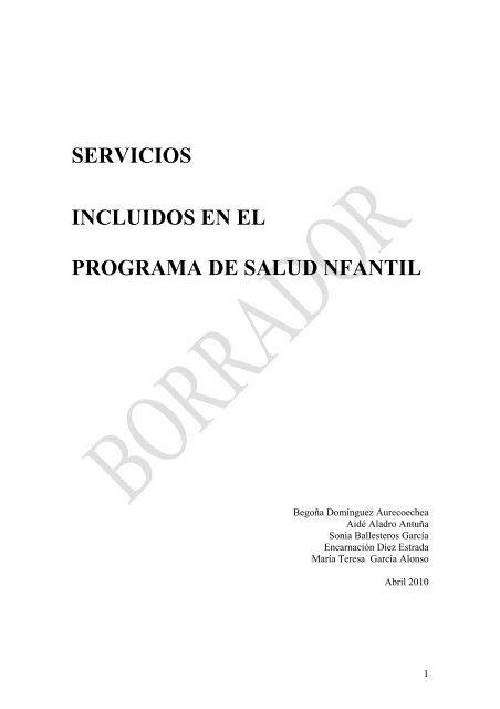 SERVICIOS INCLUIDOS EN EL PROGRAMA DE SALUD NFANTIL