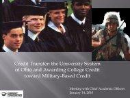 Credit Transfer: the University System of Ohio and ... - Ohio2yrcao.org