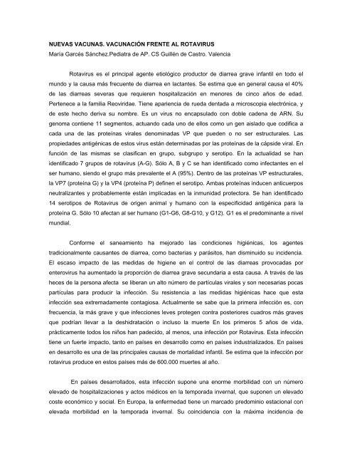NUEVAS VACUNAS. VACUNACIÓN FRENTE AL ROTAVIRUS ...