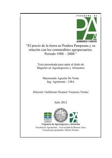 """De Notta Agustin """"El precio de la tierra en praderas pampeanas y su ..."""