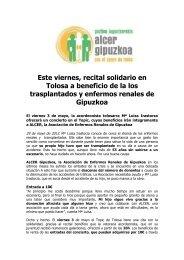 Este viernes, recital solidario en Tolosa a beneficio de la los ...