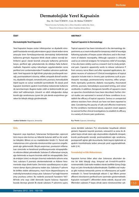 Dermatolojide Yerel Kapsaisin - Dermatoz.org