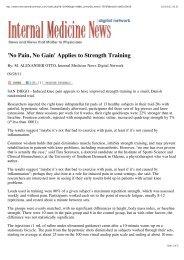 'No Pain No Gain' Applies to Strength Training