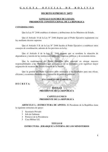 Decreto Supremo 26973 Inases