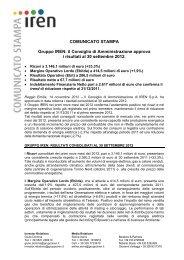 il Consiglio di Amministrazione approva i risultati al ... - IREN Energia