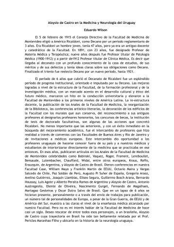 Aloysio de Castro en la Medicina y Neurología del Uruguay ...