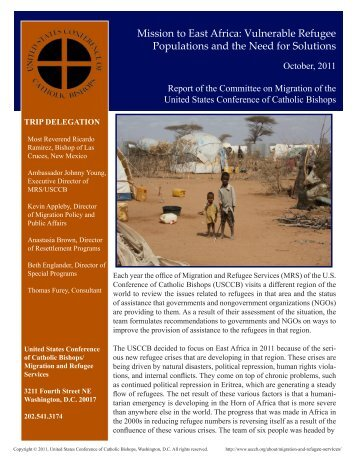 Mission to East Africa - United States Conference of Catholic Bishops